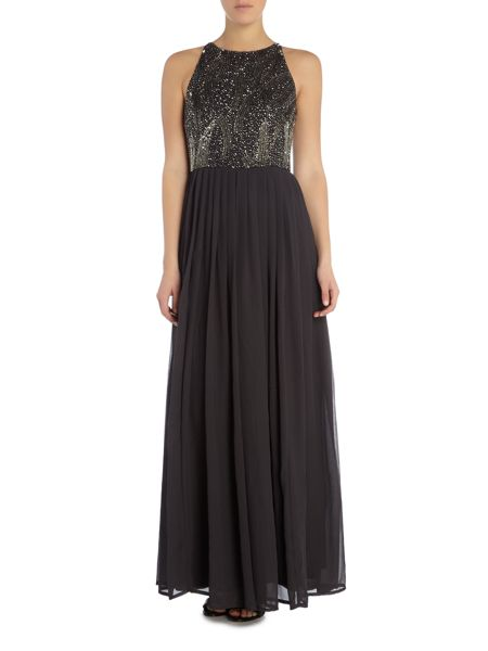 Lace and Beads Sleeveless All Over Embellished Top Maxi Dress