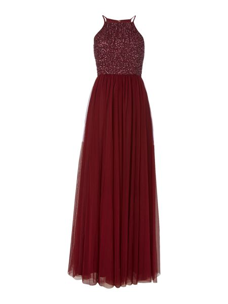 Lace and Beads Sleeveless Sequin Detailed Pattern Maxi Dress