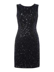 Lace and Beads Sleeveless All Over Embellished Front Dress