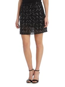Lace and Beads All Over Sequin Mini Skirt