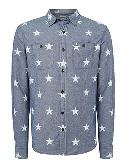 Regular fit all-over star print long sleeve shirt