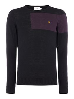 Byton block planel merino wool cre neck jumper