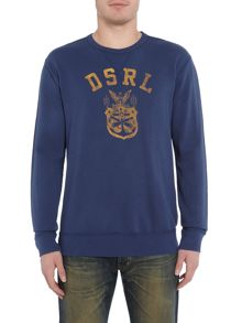 Denim and Supply Ralph Lauren DSRL chest print crew neck sweat top