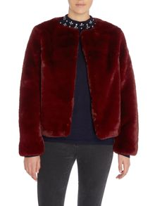Lost Ink Outerwear Cropped Fur Jacket