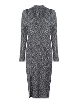 Riker charcoal brushed high neck knitted dress