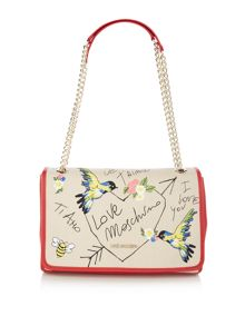Love Moschino I love you  flapover bag