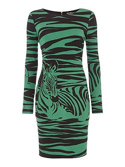 Zebra printed long sleeve jersey dress