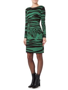 Biba Zebra printed long sleeve jersey dress