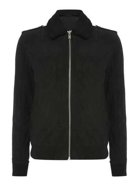 Selected Homme Leather Sherpa Jacket