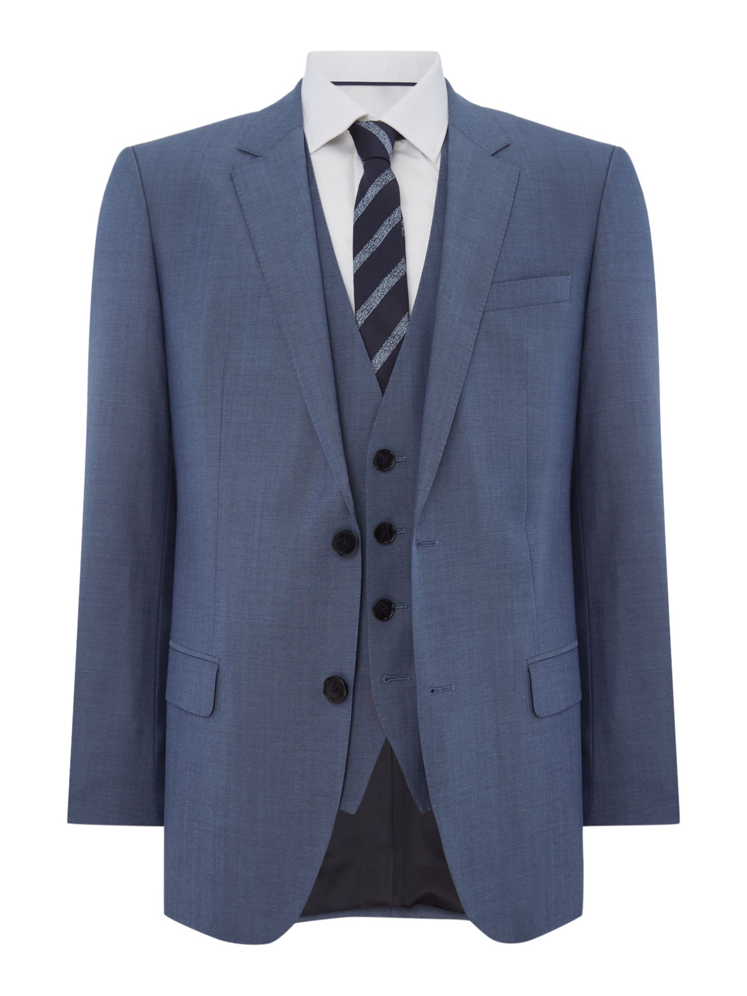 HUGO Men's Hugo Huge Genius Slim Fit Woven Check Two Piece Suit, Blue