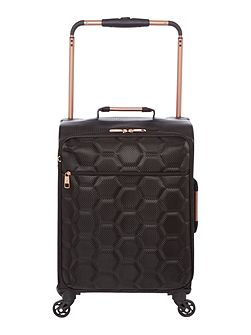 Hexalite black 4 wheel soft cabin suitcase