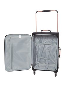 Linea Hexalite black 4 wheel soft medium suitcase