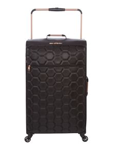 Linea Hexalite black 4 wheel soft large suitcase
