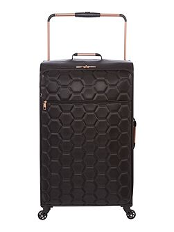 Hexalite black 4 wheel soft large suitcase