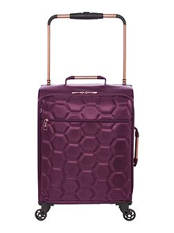 Hexalite aubergine 4 wheel soft cabin suitcase