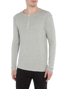 Only & Sons Henley Button-Collar Long-Sleeve T-shirt