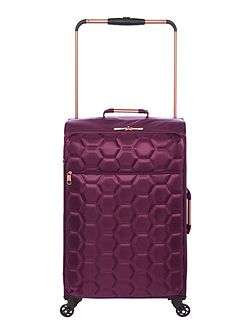 Hexalite aubergine 4 wheel soft medium suitcase