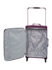 Linea Hexalite aubergine 4 wheel soft medium suitcase