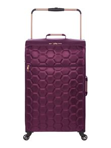 Linea Hexalite aubergine 4 wheel soft large suitcase
