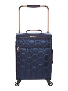 Linea Hexalite navy 4 wheel soft cabin suitcase