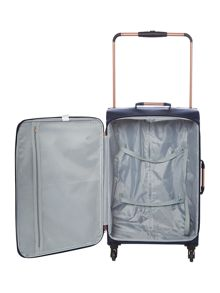 Linea Hexalite navy 4 wheel soft medium suitcase