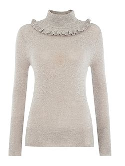 Long Sleeved Ruffle Neck Knitted Jumper