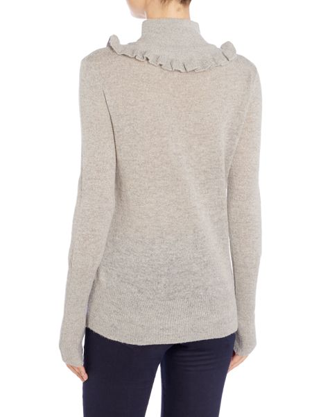 Lost Ink Long Sleeved Ruffle Neck Knitted Jumper