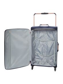 Linea Hexalite navy 4 wheel soft large suitcase