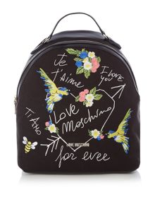 Love Moschino I love you black backpack bag