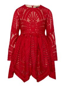 Bardot Junior Girls Long-Sleeve Mesh Dress