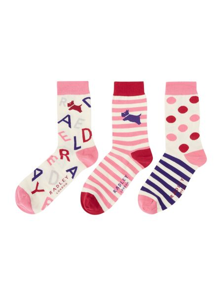 Radley Doggy mixture 3 pair pack ankle socks gift box
