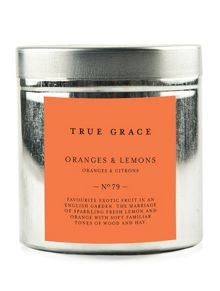 True Grace Walled garden tinned candle oranges & lemons
