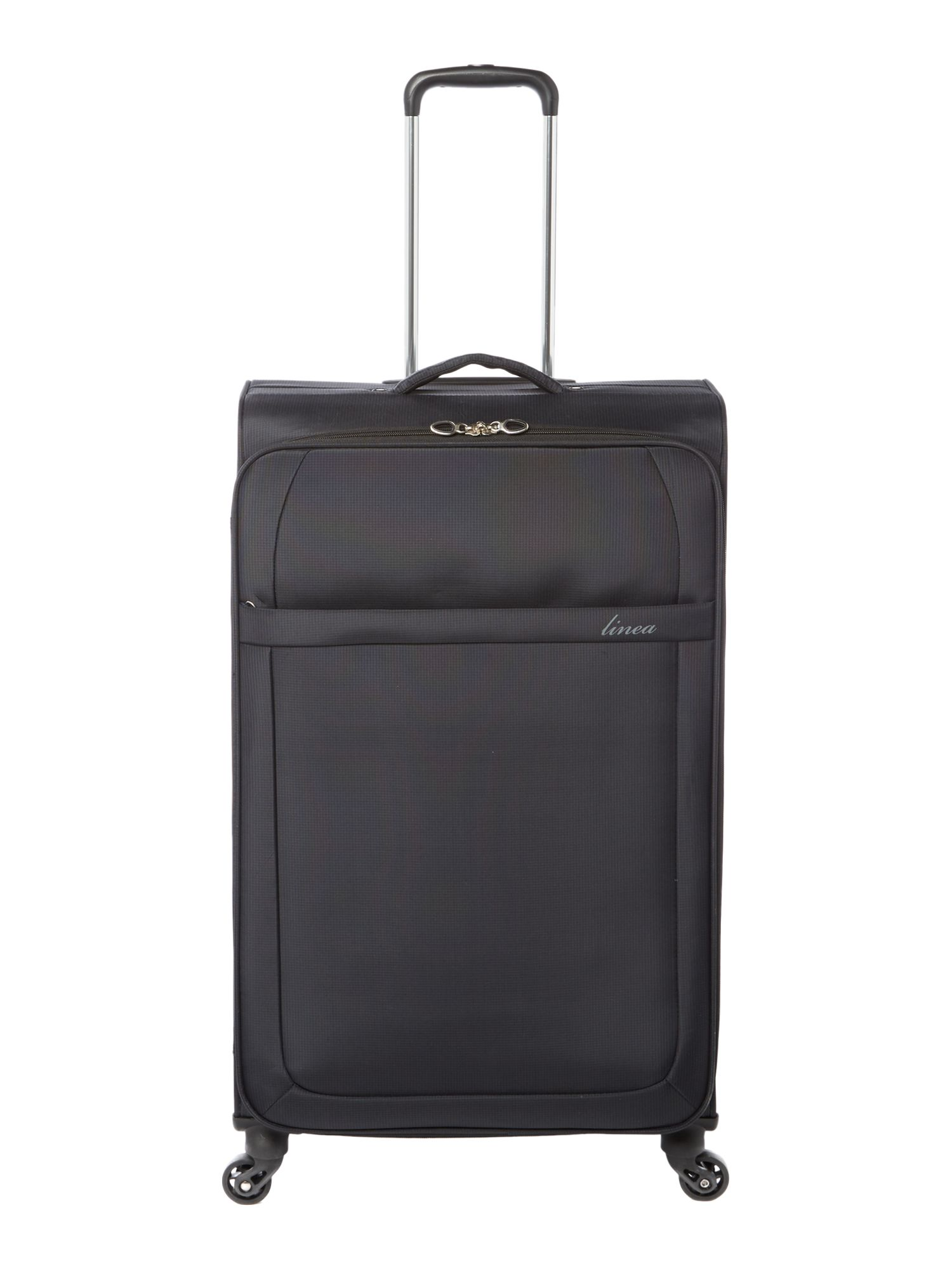 Linea Airlite black 4 wheel soft large suitcase, Black