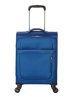 Airlite blue 4 wheel soft cabin suitcase