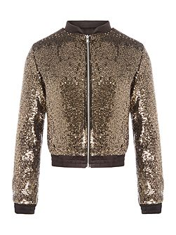 Girls Sequinned Bomber Jacket