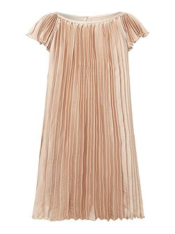 Girls Pleated Short-Sleeve Dress