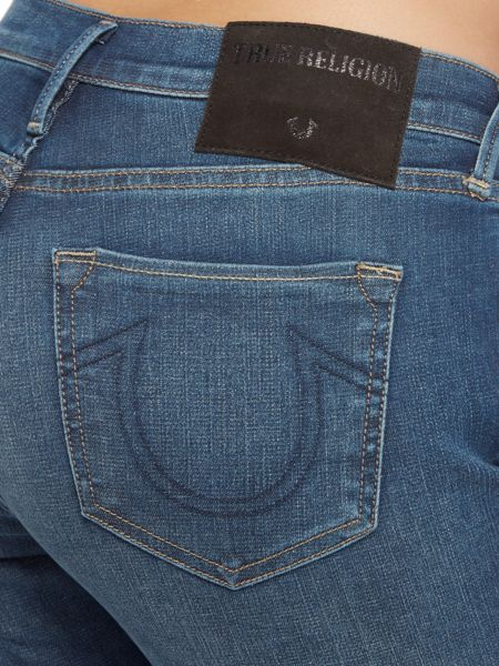 True Religion Halle mid rise super skinny stretch in blue denim