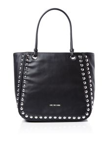 Love Moschino Studs black large tote