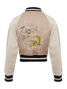 Bardot Junior Girls Embroidered Satin Bomber Jacket