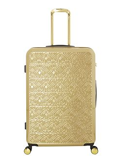 Logo emboss special edition gold large suitcase
