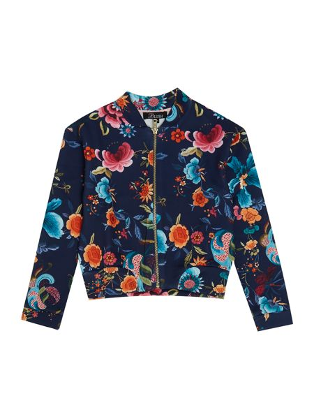 Blush Girls Floral Scuba Bomber Jacket