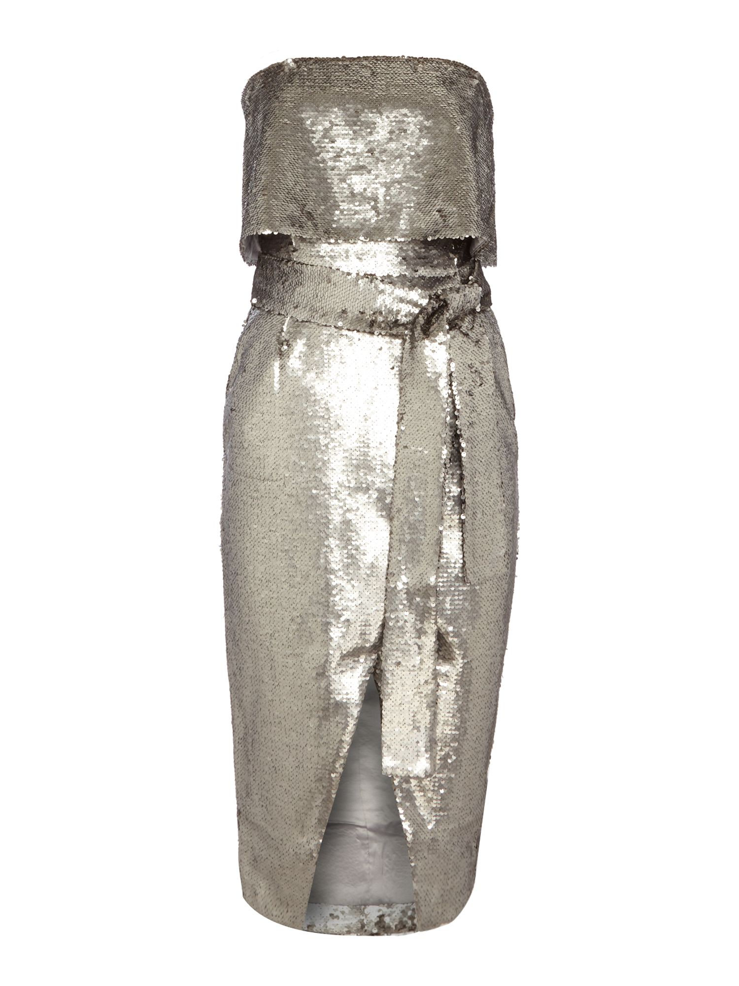 Lavish Alice Cap sleeve reverse sequin dress, Silver