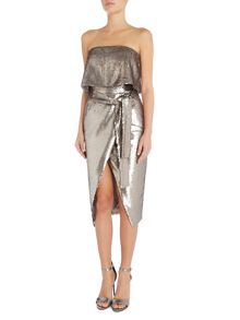 Lavish Alice Cap sleeve reverse sequin dress