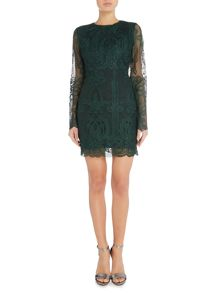Lavish Alice Long Sleeve Lace Open Back Mini Dress