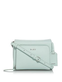 Saffiano chain pocket cross body bag