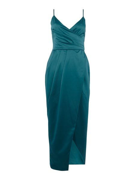 Lavish Alice Sleeveless satin wrap dress