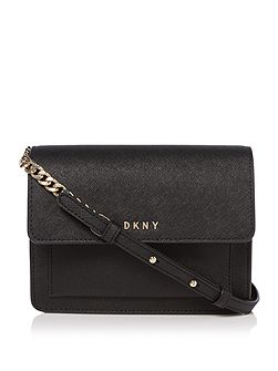 Saffiano chain mini flap crossbody bag