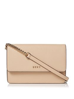 Saffiano neutral chain crossbody bag