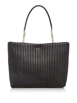 Pinstripe quilt chain tote bag