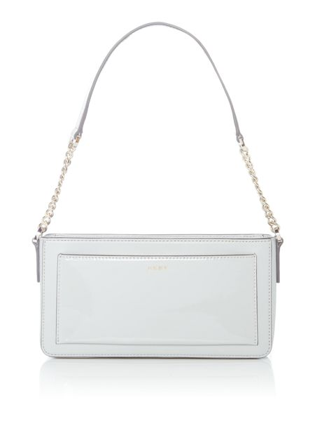 DKNY Saffiano Patent light grey chain shoulder bag